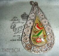 VINTAGE Hand Painted Love Birds Mother of Pearl Fine Filigree PENDANT NECKLACE