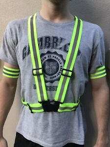 Fluro Bright Sports Safety Gear- Vest Jacket Strap Band Safety Hi-vis Reflective