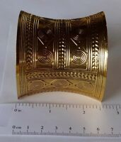 "GOLD Finished Steel CUFF Bracelet 62mm wide (~2.5"") Tribal Design Adjustable"