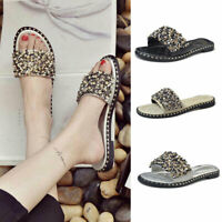 Women Summer Rhinestone Shoes Beach Flat Sandals Beaded Non-slip Female Slippers