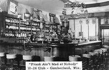 "RPPC ""Frank Ain't Mad at Nobody"" 10-24 Club, Cumberland, WI Bar Vintage Postcard"