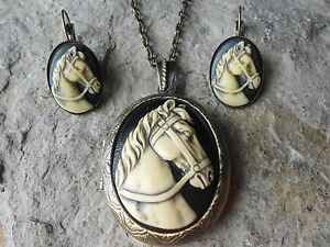 HAND PAINTED - HORSE CAMEO LOCKET and FRENCH EARRINGS SET - ON BLACK - BRONZE