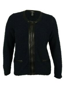 Alfani Women's 1X Faux Leather Trim Zip-Front Boucle Jacket