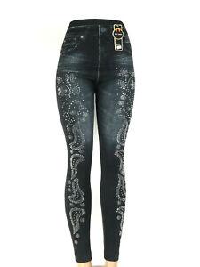 Damen Hose Elastisch Biker Leggings Jeans Optik Print Gr 36-42