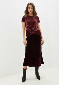 BANANA REPUBLIC NWT $98 Womens Velvet Midi Skirt Elastic Waist Burgundy Sz XS