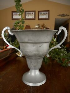 Vintage Trophy Look Reproduction Shabby Farmhouse Look Vase Silver Color Country