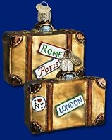 suitcase old world christmas glass bon voyage travel vacation ornament nwt 32105