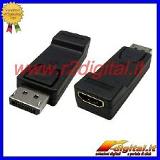 CONVERTITORE DISPLAY PORT MASCHIO HDMI FEMMINA ADATTATORE MONITOR PC MAC CAVO