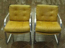 PAIR JANSKO MODERN 60's MANNER of BRNO MIES VAN DER ROHE CHROME ARM LOUNGE CHAIR