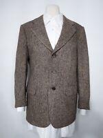Harris Tweed Tailored Jacket 100% Virgin Wool Tan Men's Size 40S