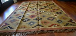 Kilim Rug Indian Jute Wool Large Hand Knotted 180x275cm 6x9ft Geometric KR1809
