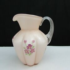 Fenton Sunset Overlay Violets Hand Painted Pitcher W270