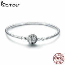 Bamoer .925 Sterling Silver Bracelet ball Clasp Delicate life With CZ For Women