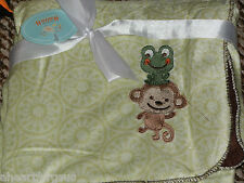 BABY BLANKET MONKEY FROG KRISTEN HANAH GREEN BROWN SHERPA VELOUR REVERSIBLE SOFT