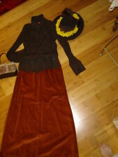 Victorian Edwardian 2 pc dress lady brown blouse rust velveteen skirt hat bag M