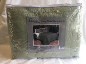 Chezmoi Collection Madrid 3-Piece Vintage Washed Solid Cotton Quilt Set Queen