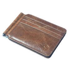 Men's Cowhide Leather Bifold Money Clip Slim Thin Wallet Card Holder Brown