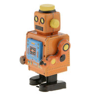 Retro Yellow Mechanical Walking Tin Robot Wind-Up Clockwork Toy Collectibles