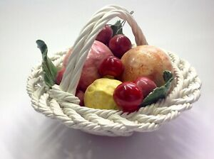Vintage genuine signed later Capodimonte, Italian hand made fruit basket 18.5cm