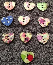 10x 15mm WOODEN HEART BUTTONS