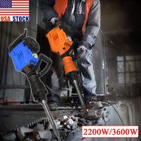2200W/3600W Electric Jack Hammer Breaker Concrete Demolition Punch 2Chisel Bits.