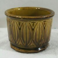 """MID CENTURY VINTAGE 60'S ROUND PLANTER BROWN & GREEN COLORS """"McCOY #394 U.S.A."""""""