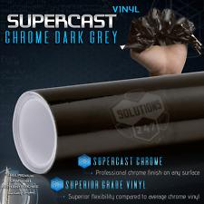 "Black Grey Supercast Flex Stretch Mirror Chrome Vinyl Wrap Air Free 12"" x 60"" In"