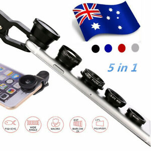 5in1 Mobile Phone Camera Lens Clip Kit Fisheye Wide Angle Macro Telephoto CPL AU