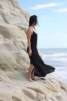 Zara Black Low Cut Strappy Lace Maxi Full Length Casual Party Dress MEDIUM