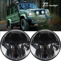 "2X 7"" 80W For Land Rover Defender LED Headlights Headlamp RHD 90 110 Hi/Lo Beam"