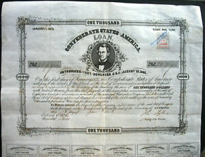 Confederate States of America $ 1000 loan + Coup Richmond Aug 1863 USA Memminger