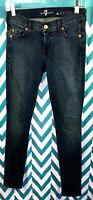 SEVEN 7 FOR ALL MANKIND WOMENS THE MID RISE SKINNY DARK BLUE JEANS SIZE 25