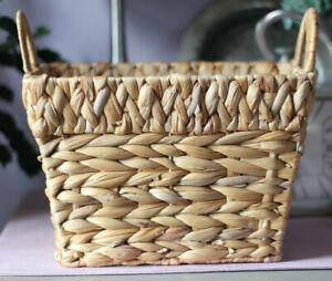 Small Natural Wicker Basket w/ Handles Decorative Storage Coastal Style