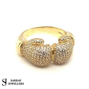 BOXING GLOVE 375 9ct 9K YELLOW GOLD RING CZ DOUBLE CLASSIC MENS DRESS BRAND NEW