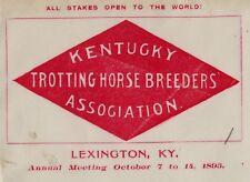 RARE Advertising Cover Envelope 1893 Kentucky Horse Breeders Association