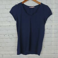 Ann Taylor LOFT Womens Sz S Sunwashed T Short Sleeve Scoop Neck Top Navy Blue
