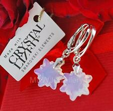 925 Silver Earrings EDELWEISS Flower White Opal Crystals From Swarovski®