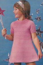 "Girls Dress Knitting Pattern 22-27""  Double Knitting 4ply & DK  360"