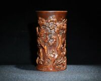 noble natural Boxwood carved People under pine trees landscape statue Brush Pot