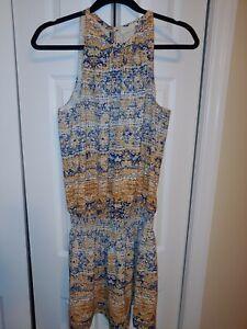 Ramy Brook Yellow Blue White Halter Dress Size Medium