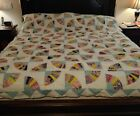 Vtg. Antique Feed Sack 'FAN' Quilt Top Hand Stitched 94'× 80' (#244)