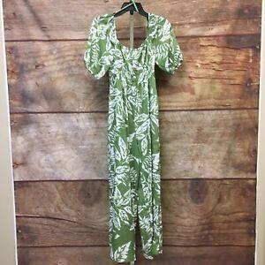 Lush Womens Small Green Leaf Print Pocket Jumpsuit NWT