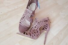 ZARA SUEDE LEATHER NUDE  PINK OPENWORK HIGH HEEL SANDALS/SHOES SIZE UK 6 EU 39