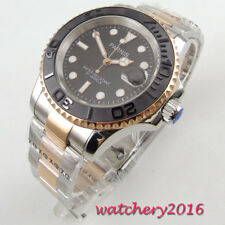 41mm parnis Brown Dial Sapphire Crystal 21 jewels Automatic movement Mens Watch