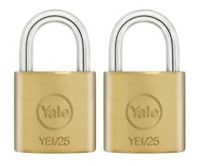 2 PACK YALE SECURITY, SOLID BRASS PADLOCKS 25MM, KEYED ALIKE PADLOCKS FREEPOST!