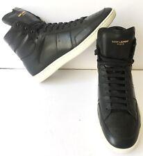NEW Saint Laurent YSL Court Classic Black High Top Sneaker Men Shoes Sz 43 US 10