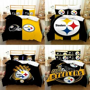 Pittsburgh Steelers Bedding Set 3PCS Duvet Cover Pillowcases Comforter Cover New