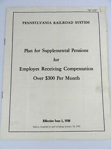 1945 Pennsylvania Railroad System Supplemental Pensions Employes Receiving Comp