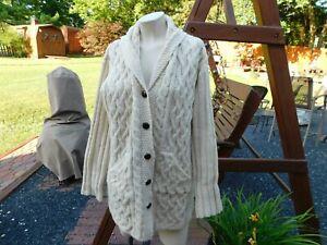 Aran Crafts Fisherman Cable Knit Sweater Size XS Cardigan Mens Womens Unisex