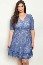 Womens Plus Size Blue Lace Dress 2XL New Ruffled Lined